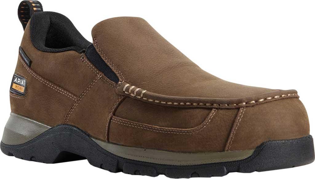 Men's Ariat Edge LTE Slip-On SD Composite Toe Shoe, Dark Brown Leather, large, image 1