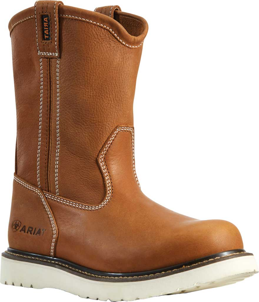 Men's Ariat Rebar Wedge Pull-On Soft Toe Work Boot, Golden Grizzly Full Grain Leather, large, image 1