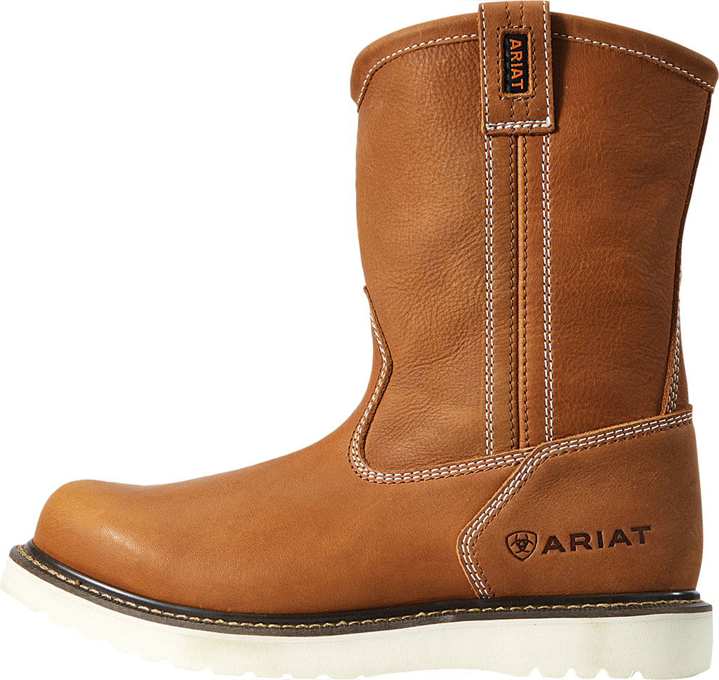 Men's Ariat Rebar Wedge Pull-On Soft Toe Work Boot, Golden Grizzly Full Grain Leather, large, image 2