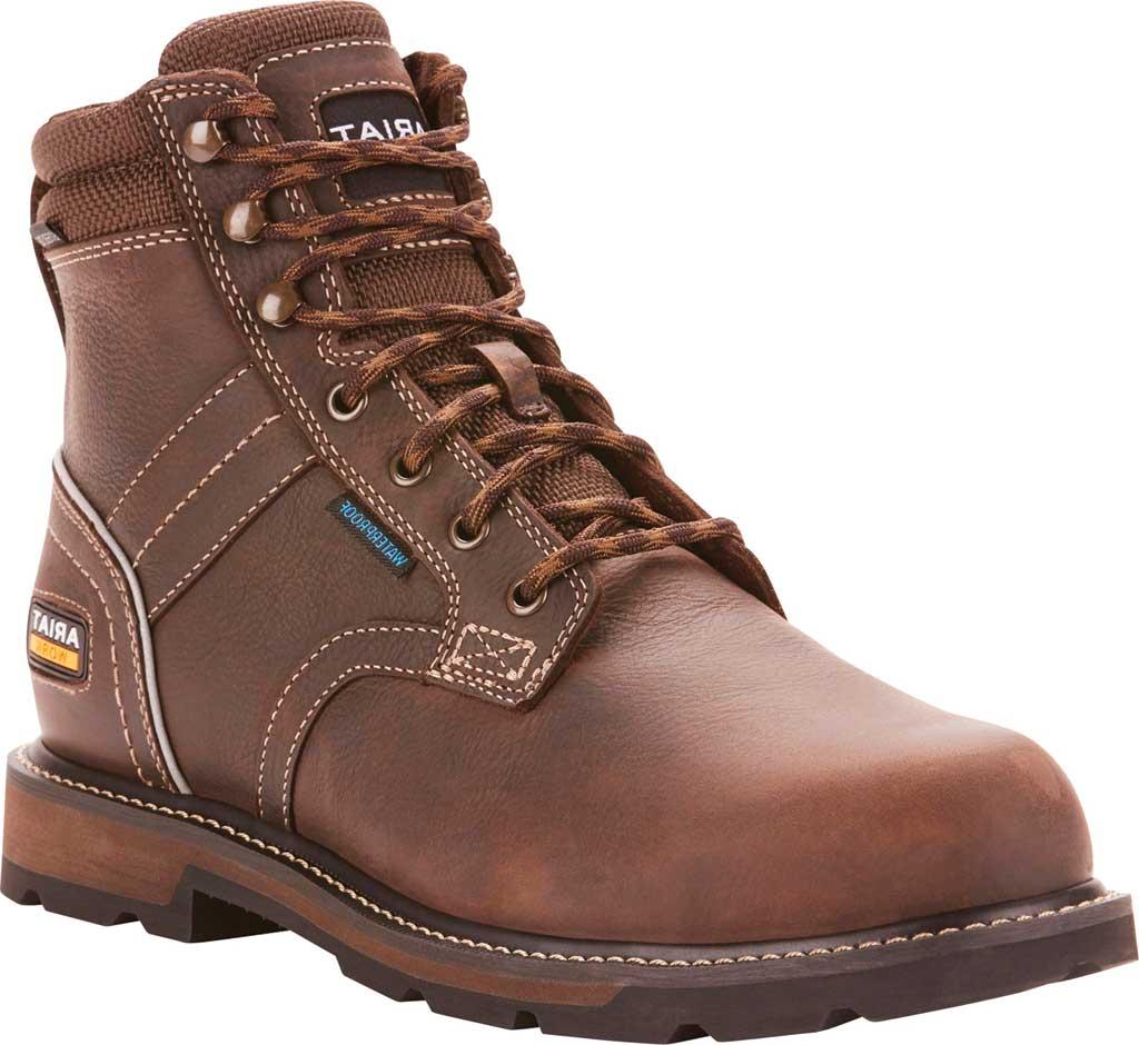 "Men's Ariat Groundbreaker 6"" II H2O Steel Toe Work Boot, Dark Brown Full Grain Leather, large, image 1"