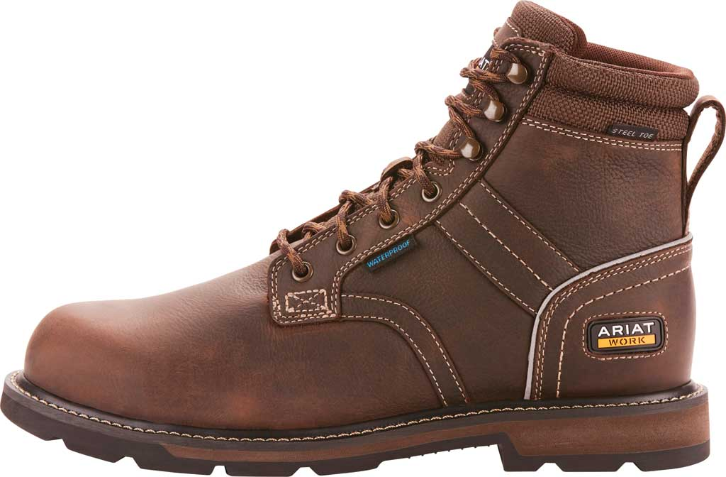"Men's Ariat Groundbreaker 6"" II H2O Steel Toe Work Boot, Dark Brown Full Grain Leather, large, image 2"