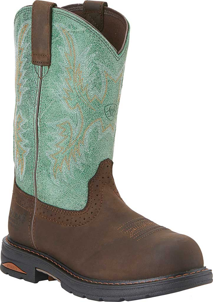Women's Ariat Tracey Waterproof Composite Toe Work Boot, Oily Distressed Brown/Turquoise Full Grain Leather, large, image 1