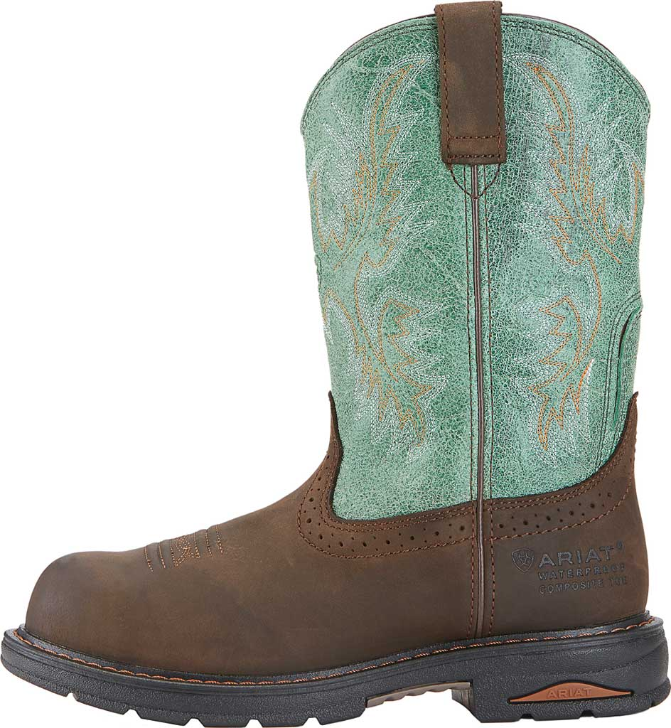 Women's Ariat Tracey Waterproof Composite Toe Work Boot, Oily Distressed Brown/Turquoise Full Grain Leather, large, image 2