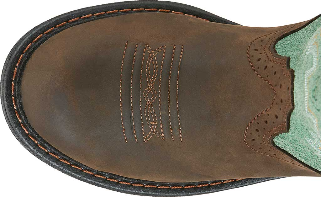 Women's Ariat Tracey Waterproof Composite Toe Work Boot, Oily Distressed Brown/Turquoise Full Grain Leather, large, image 4