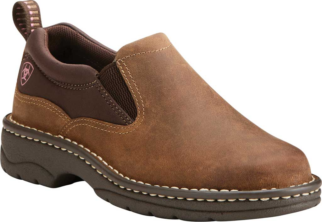 Women's Ariat Traverse Slip-On Shoe, Distressed Brown Full Grain Leather, large, image 1