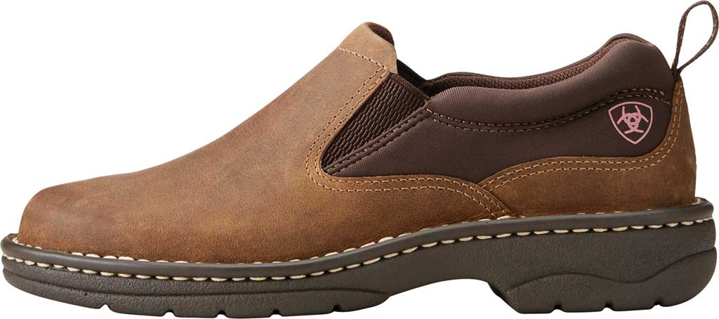 Women's Ariat Traverse Slip-On Shoe, Distressed Brown Full Grain Leather, large, image 2