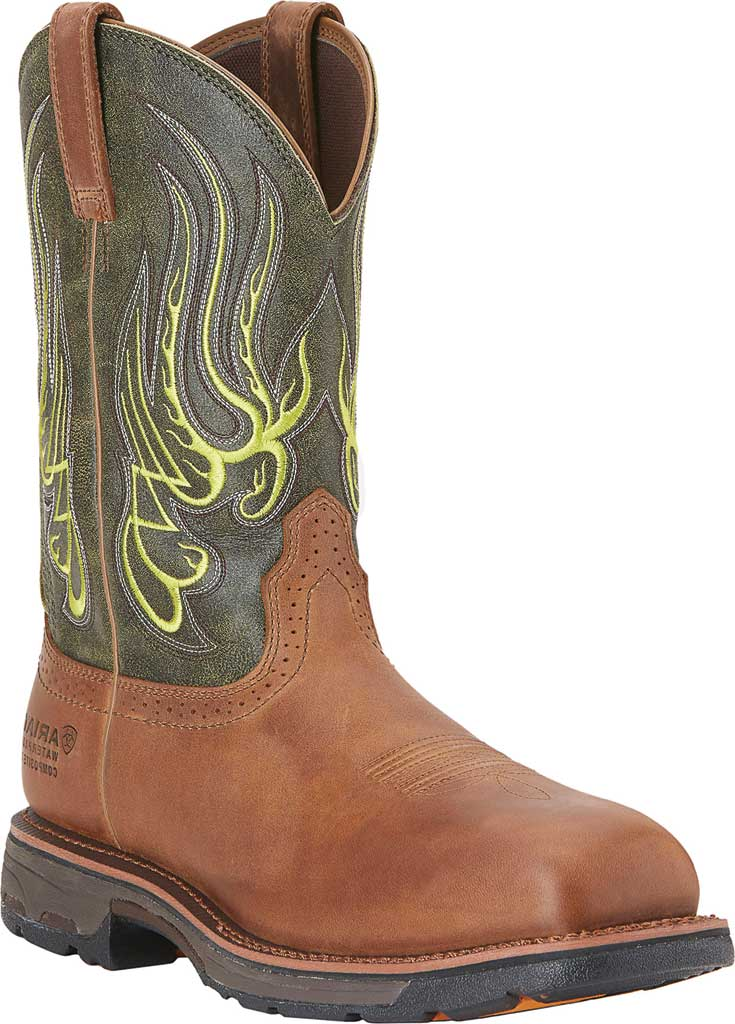 Men's Ariat WorkHog Mesteno H2O Comp Toe Work Boot, Rust/Moss Green Full Grain Leather, large, image 1