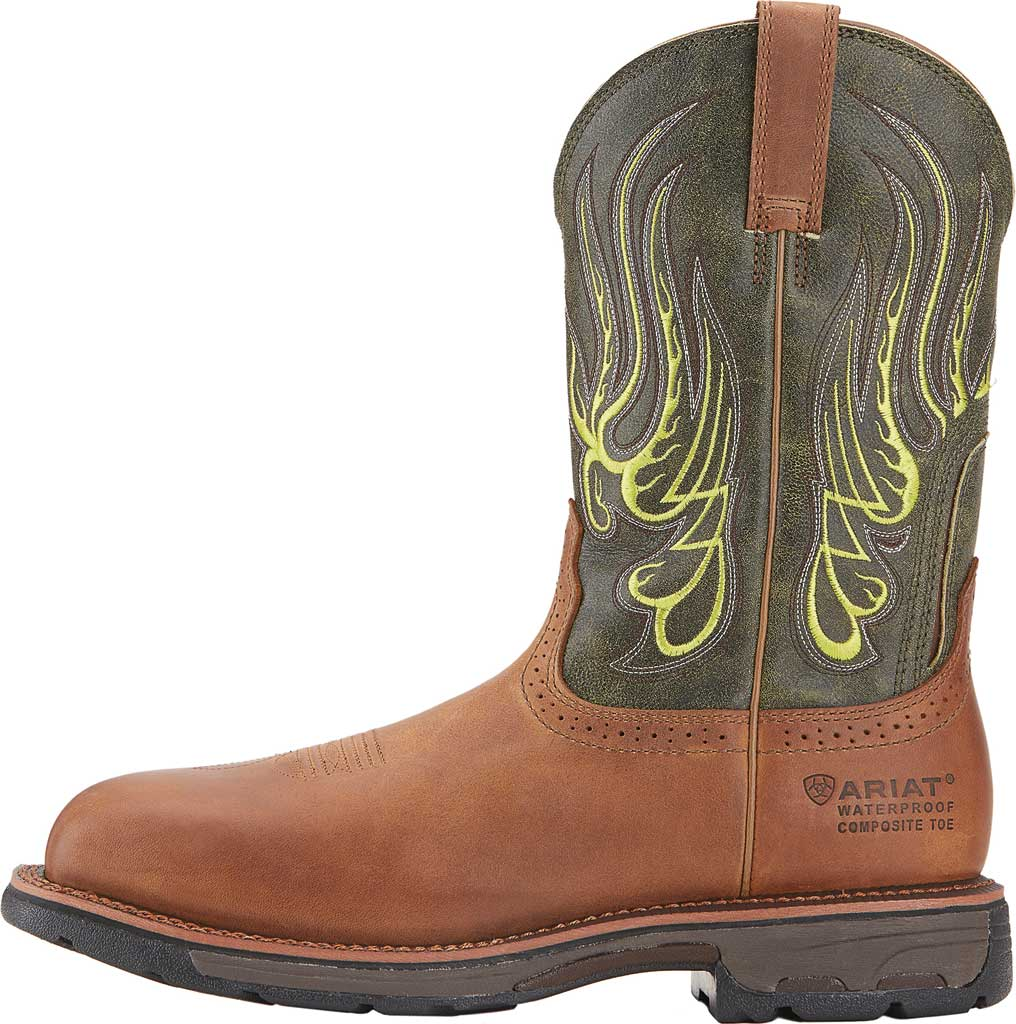 Men's Ariat WorkHog Mesteno H2O Comp Toe Work Boot, Rust/Moss Green Full Grain Leather, large, image 2