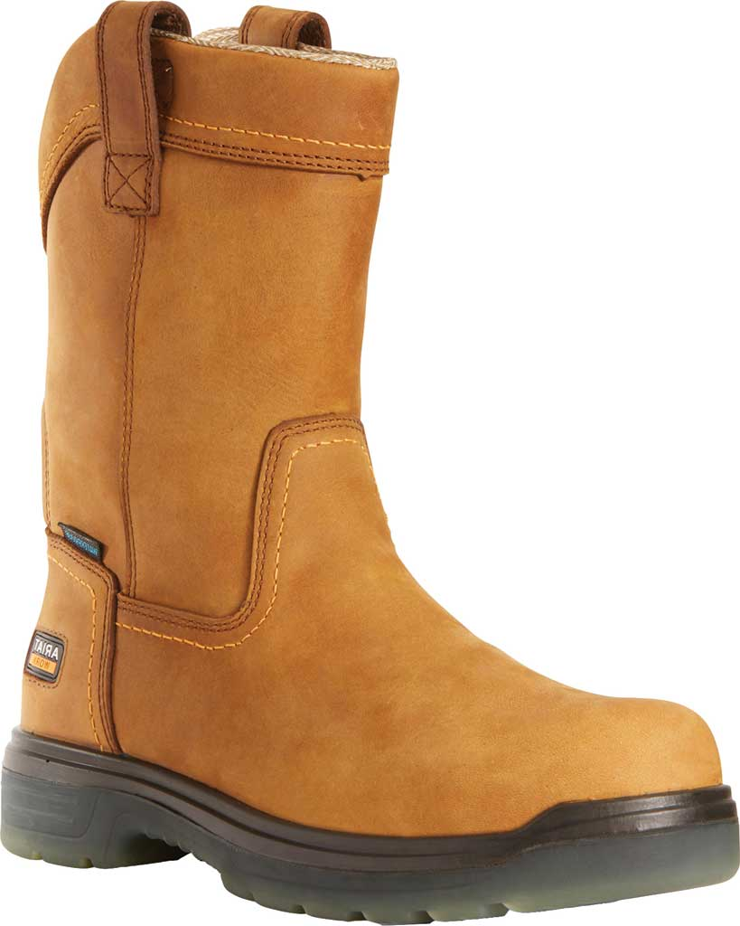Men's Ariat Turbo Pull On H2O Soft Toe Work Boot, Aged Bark Waterproof Full Grain Leather, large, image 1