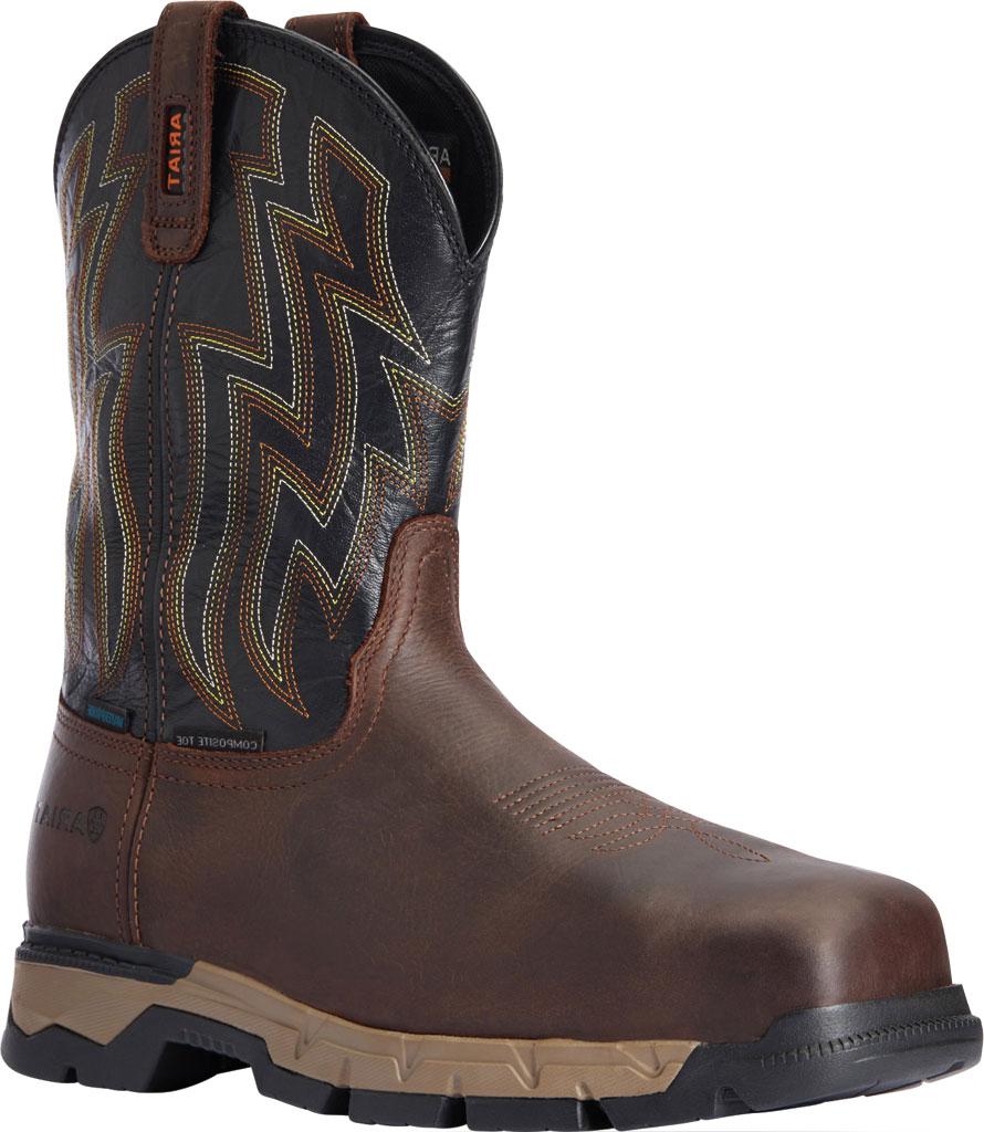 Men's Ariat Rebar Flex Western H2O Composite Toe Boot, Dark Brown/Black Waterproof Full Grain Leather, large, image 1