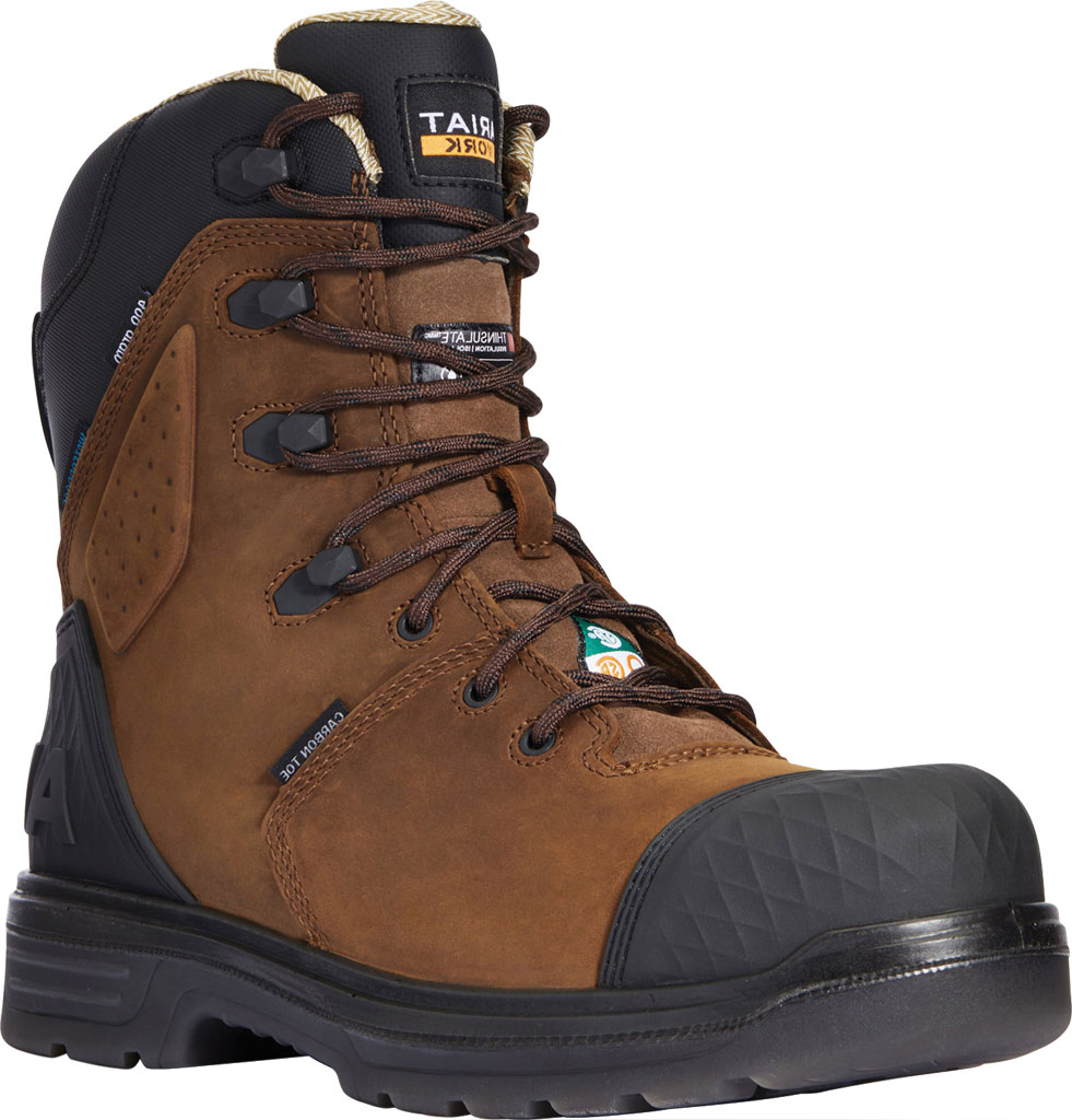 """Men's Ariat Turbo Outlaw 8"""" H2O 400g CSA Carbon Toe Boot, Barley Brown Waterproof Full Grain Leather, large, image 1"""