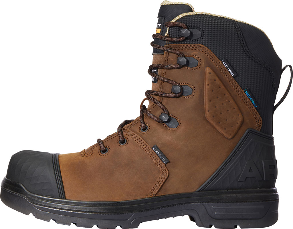 """Men's Ariat Turbo Outlaw 8"""" H2O 400g CSA Carbon Toe Boot, Barley Brown Waterproof Full Grain Leather, large, image 2"""