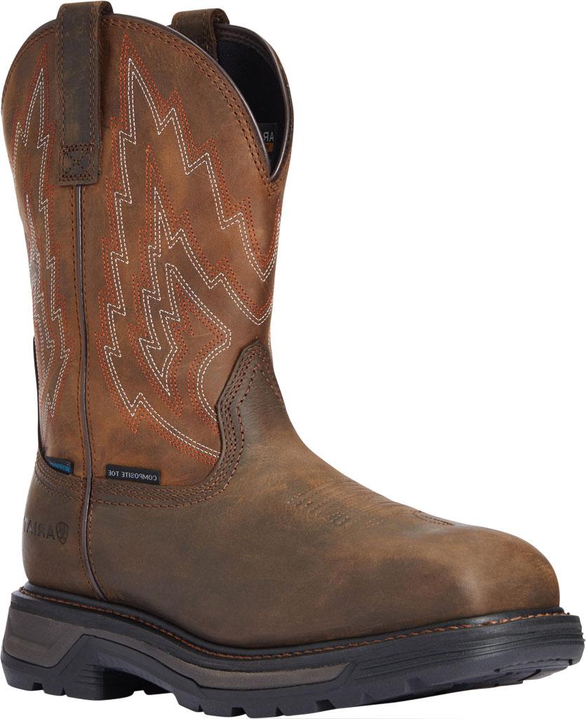 Men's Ariat Big Rig H2O Composite Toe Work Boot, Dark Brown/Distressed Brown Waterproof Full Grain, large, image 1