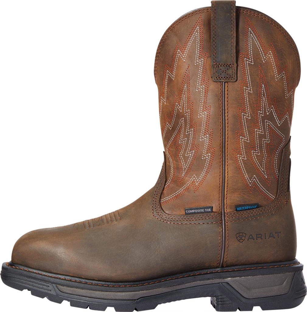 Men's Ariat Big Rig H2O Composite Toe Work Boot, Dark Brown/Distressed Brown Waterproof Full Grain, large, image 2