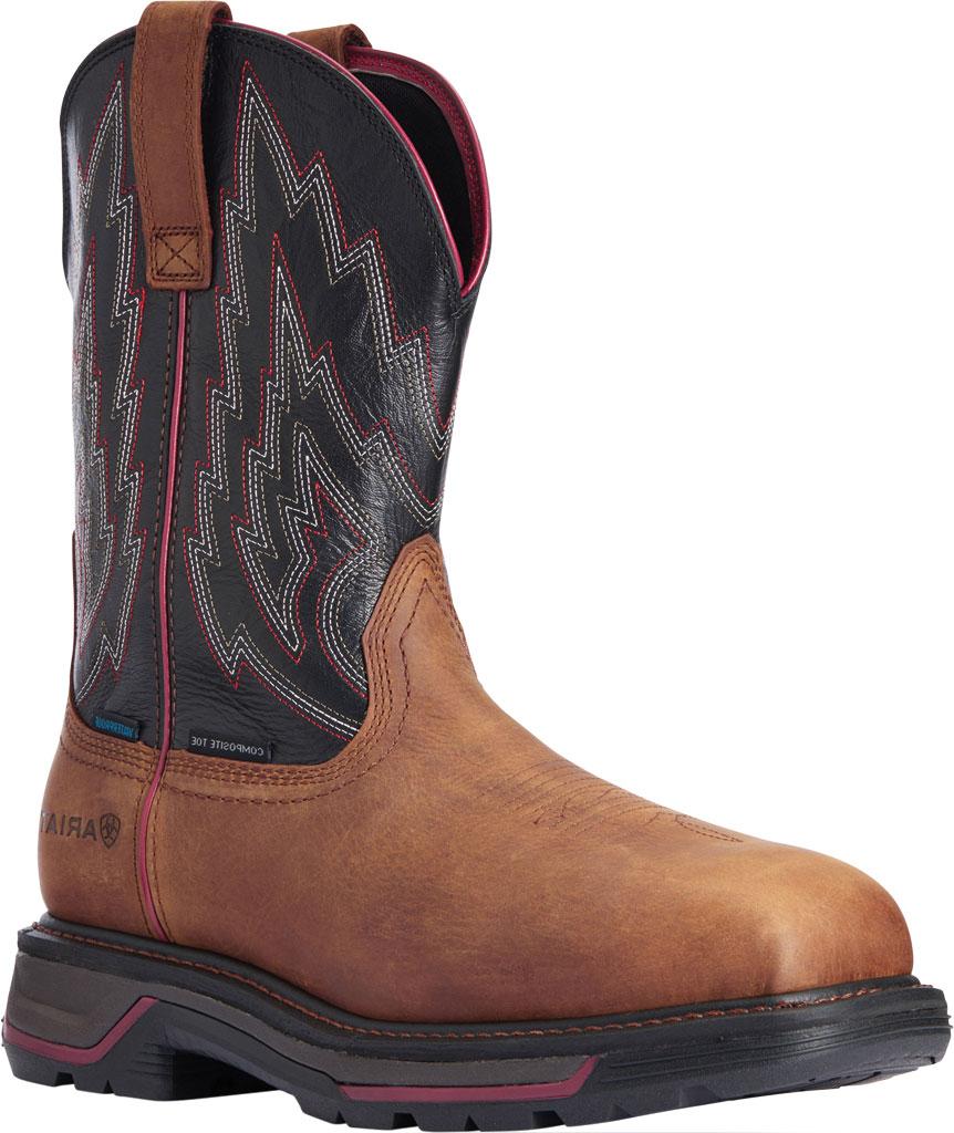 Men's Ariat Big Rig H2O Composite Toe Work Boot, Mesa Brown/Black Waterproof Full Grain Leather, large, image 1