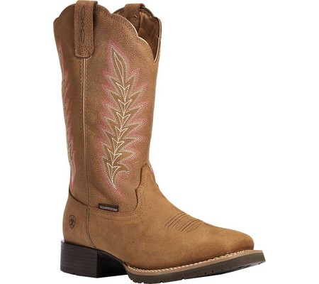 Women's Ariat Hybrid Rancher H2O Western Boot, Pebbled Tan Waterproof Full Grain Leather, large, image 1