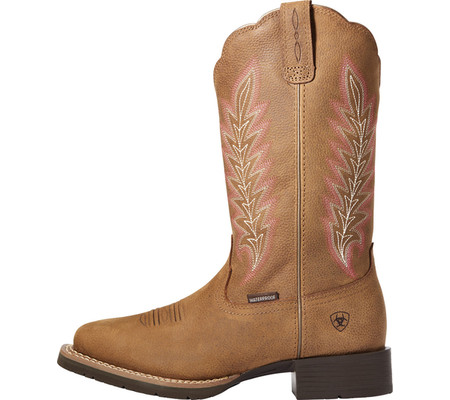 Women's Ariat Hybrid Rancher H2O Western Boot, Pebbled Tan Waterproof Full Grain Leather, large, image 2