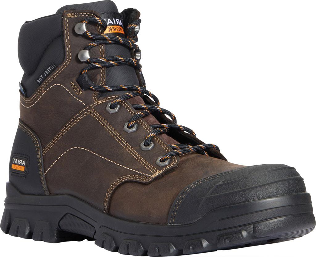 "Men's Ariat Treadfast 6"" H2O Work Boot, Dark Brown Waterproof Leather, large, image 1"