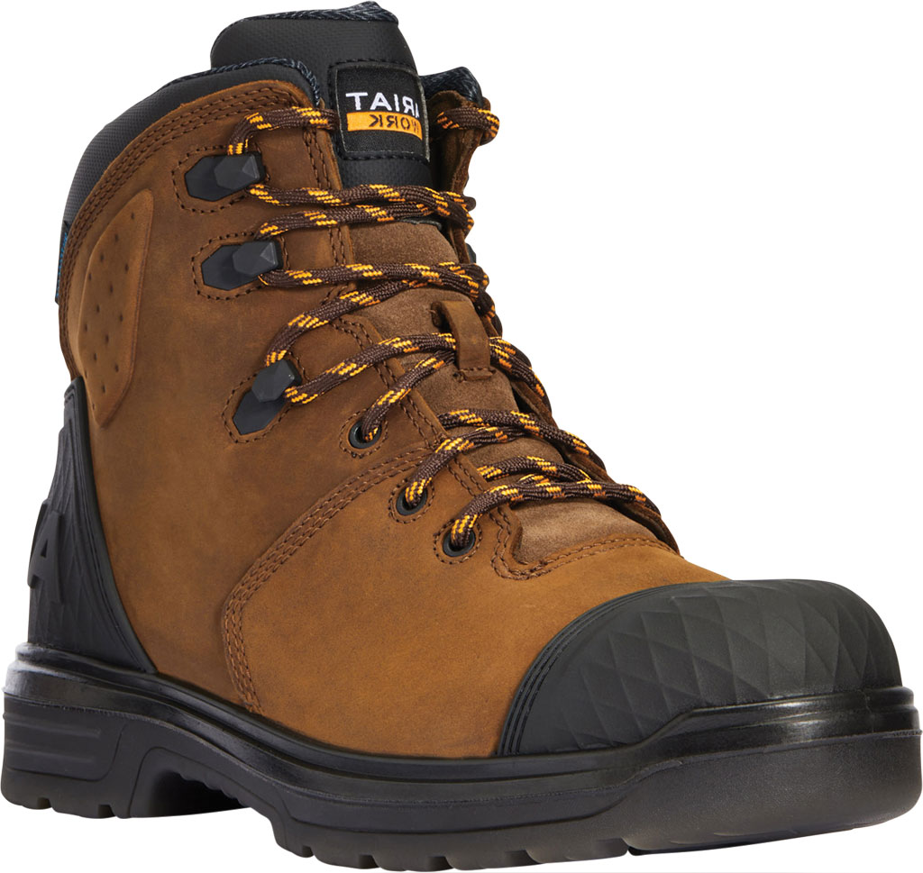 """Men's Ariat Turbo Outlaw 6"""" H2O Soft Toe Work Boot, Barley Brown Waterproof Full Grain Leather, large, image 1"""