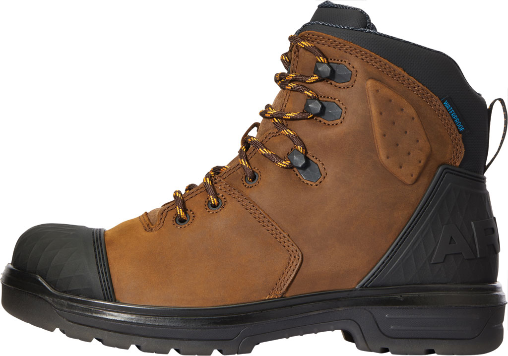 """Men's Ariat Turbo Outlaw 6"""" H2O Soft Toe Work Boot, Barley Brown Waterproof Full Grain Leather, large, image 2"""