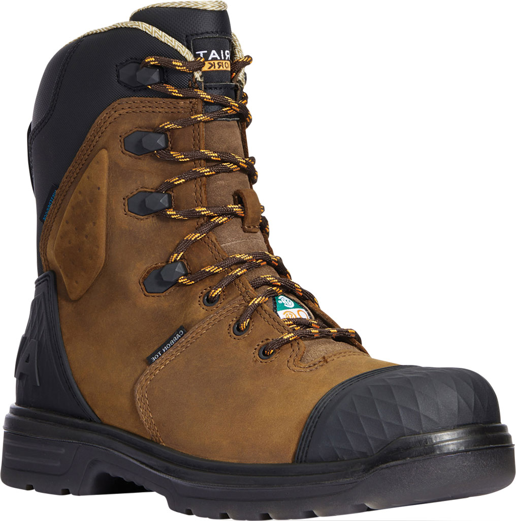 """Men's Ariat Turbo Outlaw 8"""" H2O CSA Carbon Toe Boot, Barley Brown Waterproof Full Grain Leather, large, image 1"""