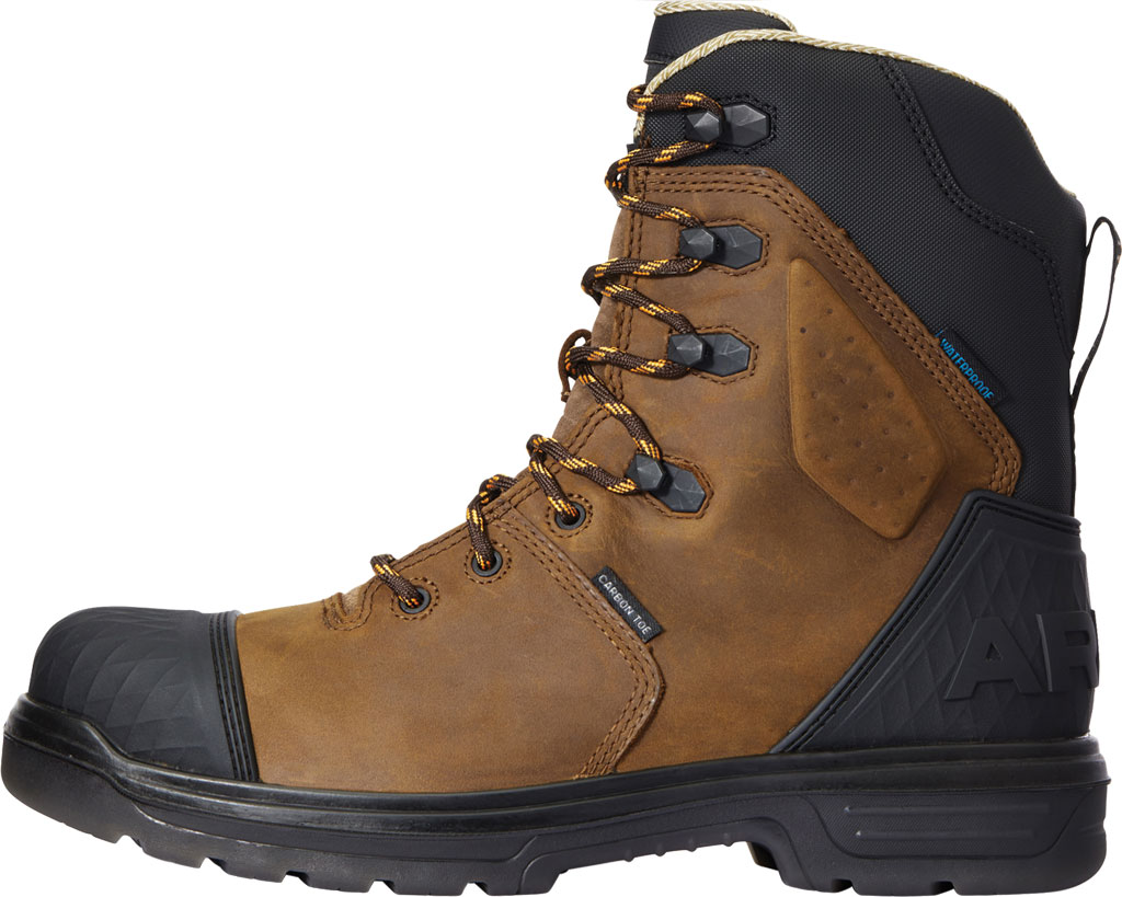 """Men's Ariat Turbo Outlaw 8"""" H2O CSA Carbon Toe Boot, Barley Brown Waterproof Full Grain Leather, large, image 2"""
