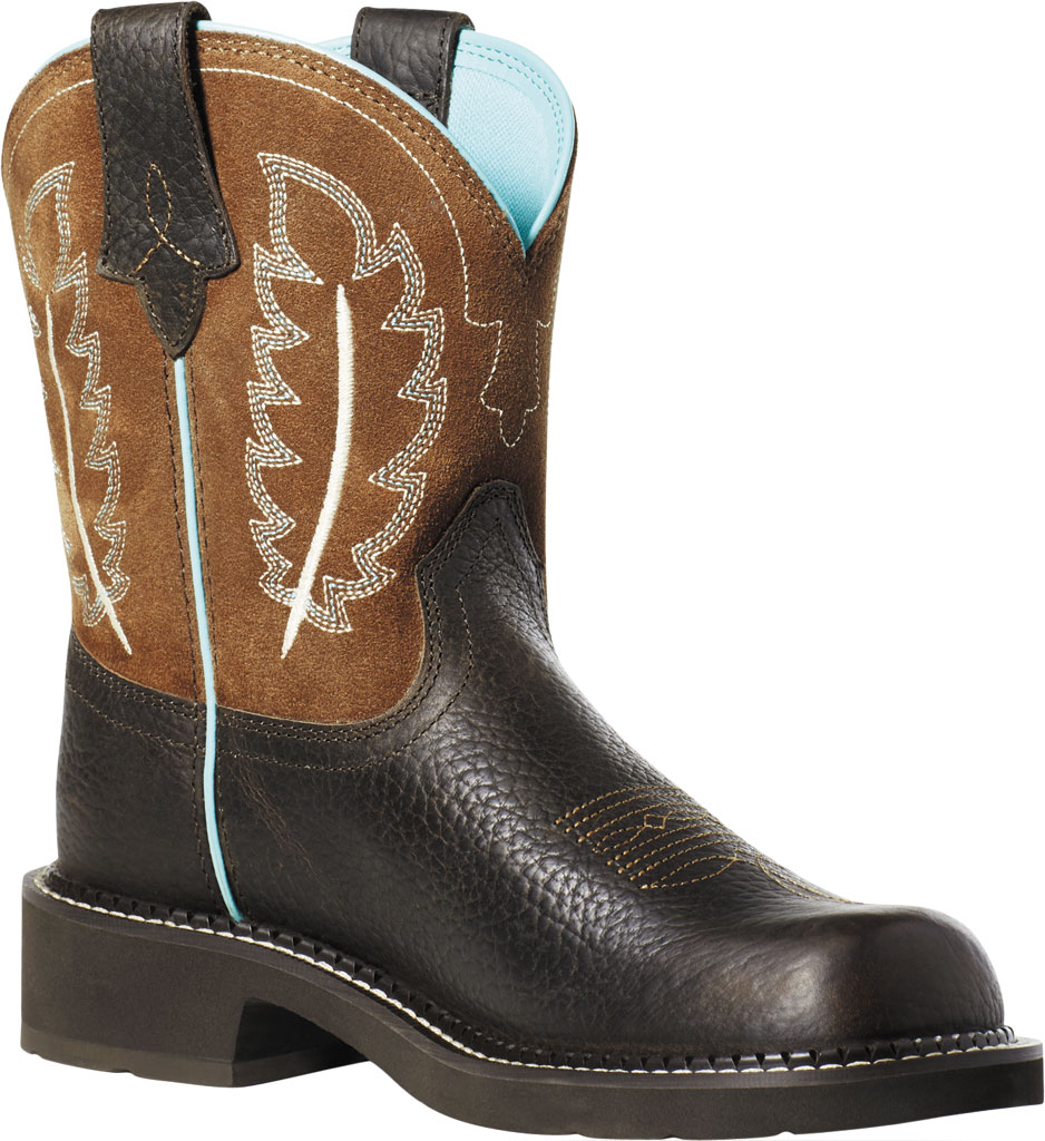 Women's Ariat Fatbaby Heritage Feather II Mid Calf Riding Boot, Dark Cottage/Tan Leather/Suede, large, image 1