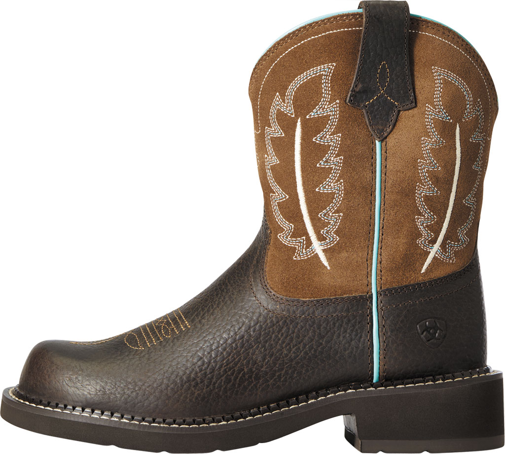 Women's Ariat Fatbaby Heritage Feather II Mid Calf Riding Boot, Dark Cottage/Tan Leather/Suede, large, image 2