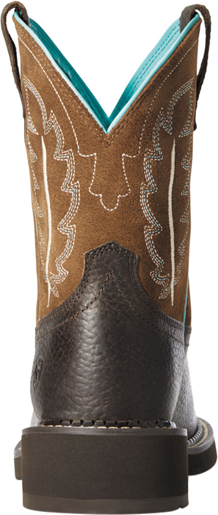 Women's Ariat Fatbaby Heritage Feather II Mid Calf Riding Boot, Dark Cottage/Tan Leather/Suede, large, image 3