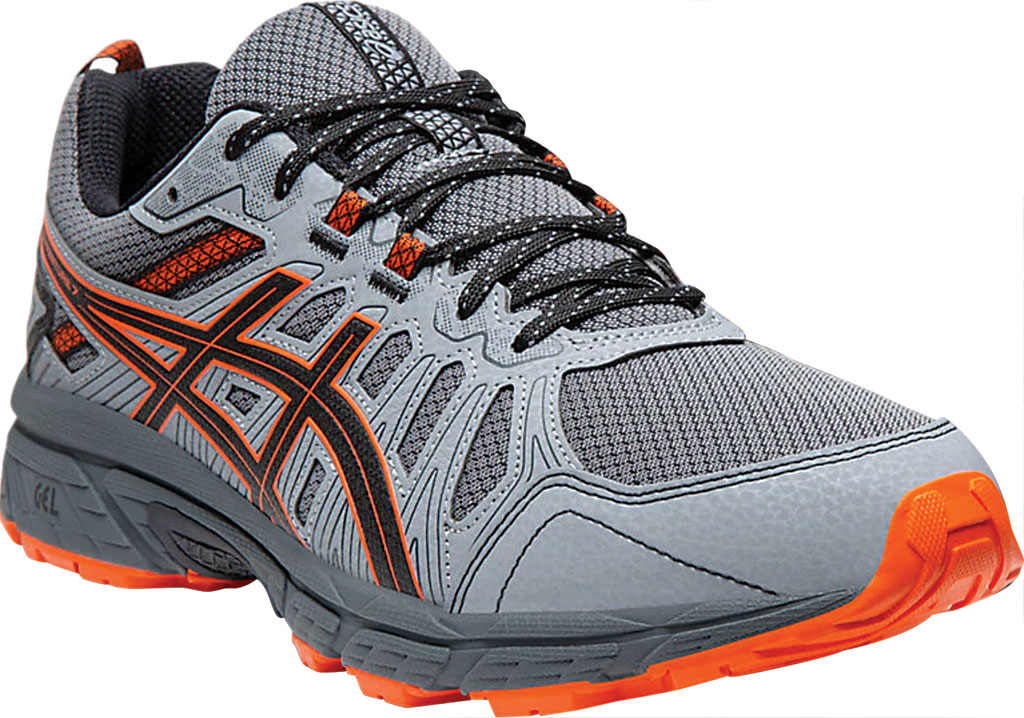 Men's ASICS GEL-Venture 7 Trail Running Shoe, Carrier Grey/Habanero, large, image 1
