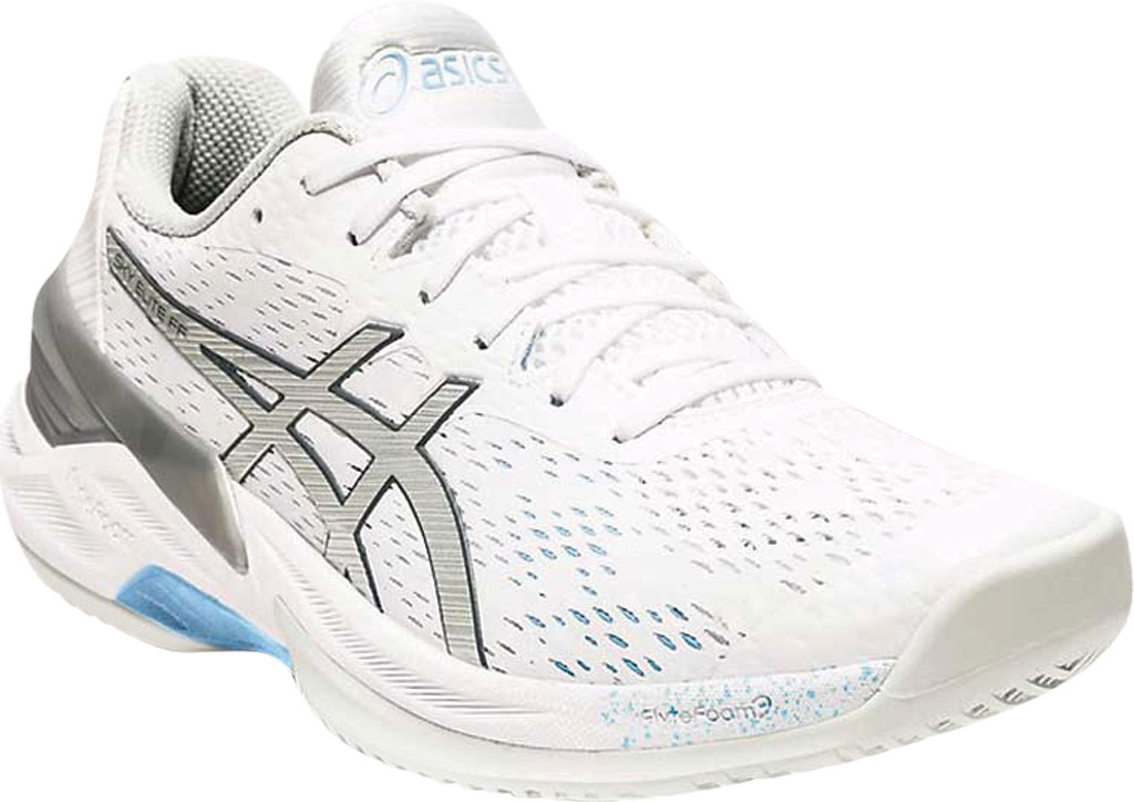 Women's ASICS Sky Elite FF Volleyball Shoe, White/Pure Silver, large, image 1