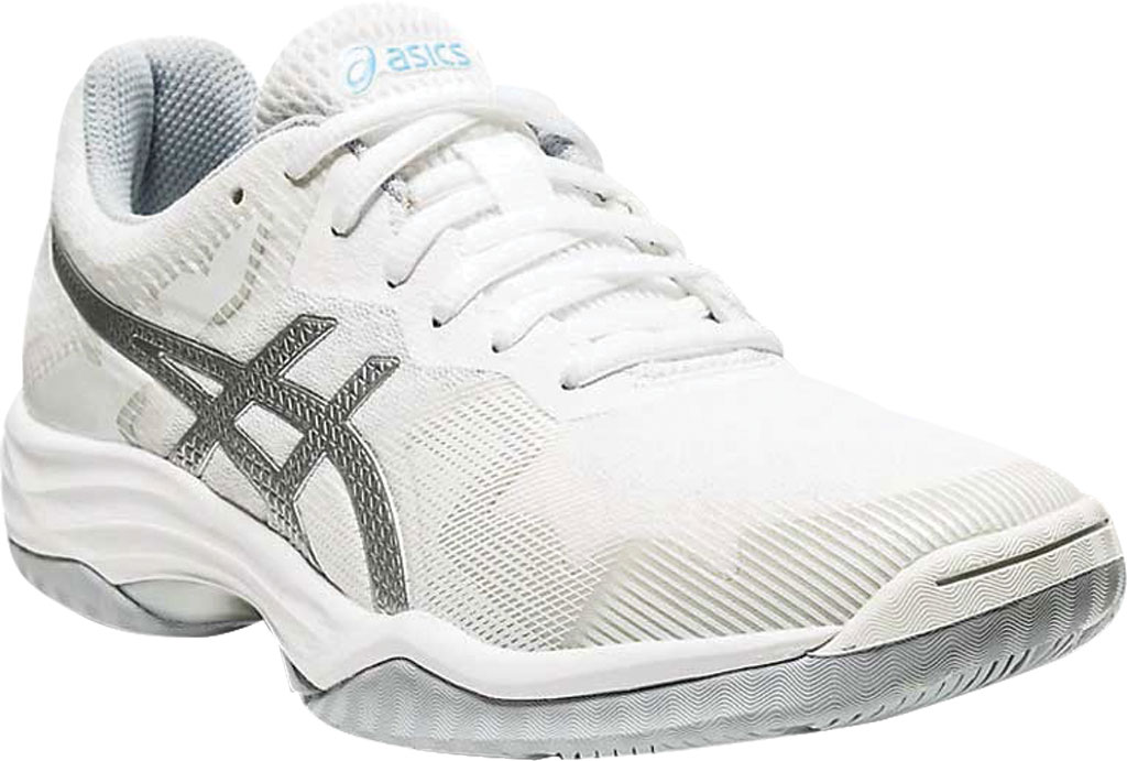 Women's ASICS GEL-Tactic Indoor Sport Shoe, White/Aquarium, large, image 1
