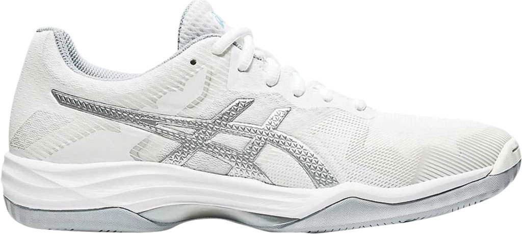 Women's ASICS GEL-Tactic Indoor Sport Shoe, White/Aquarium, large, image 2