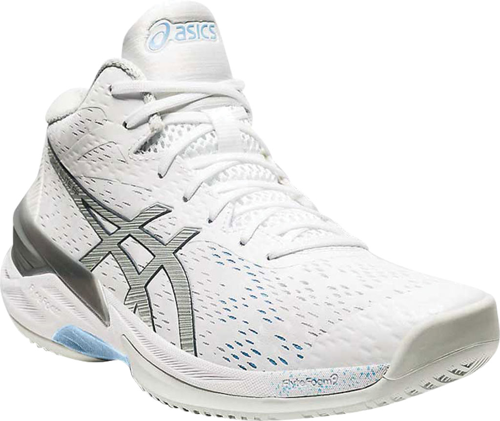 Women's ASICS Sky Elite FF MT Volleyball Shoe, White/Pure Silver, large, image 1