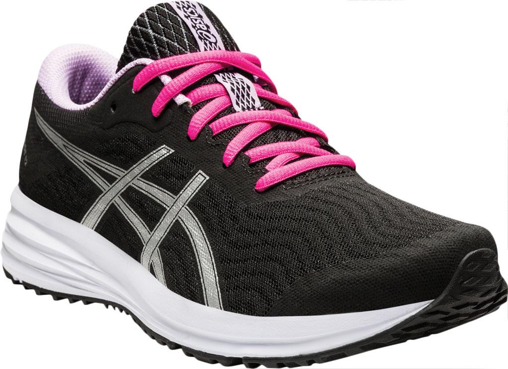 Women's ASICS Patriot 12 Running Sneaker, Black/Pure Silver, large, image 1