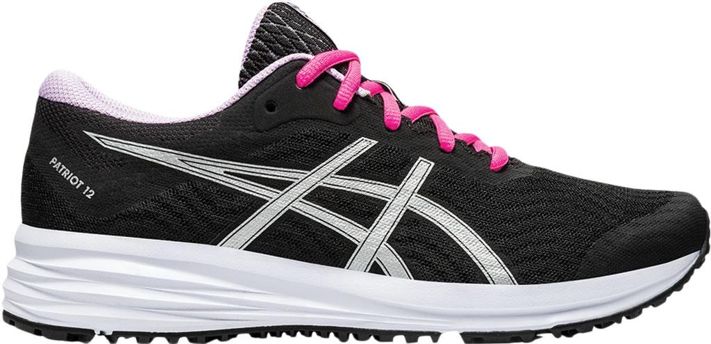 Women's ASICS Patriot 12 Running Sneaker, Black/Pure Silver, large, image 2