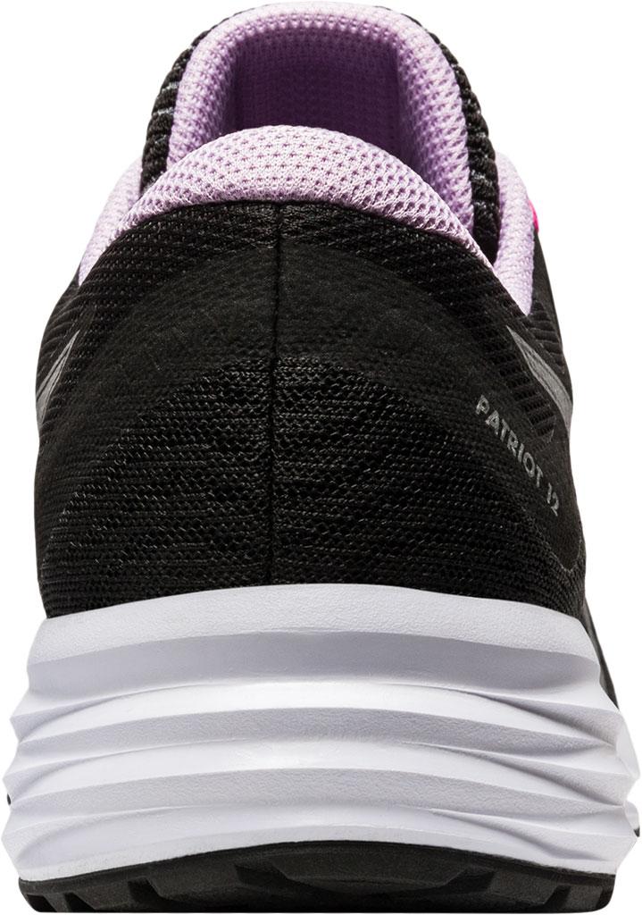 Women's ASICS Patriot 12 Running Sneaker, Black/Pure Silver, large, image 4