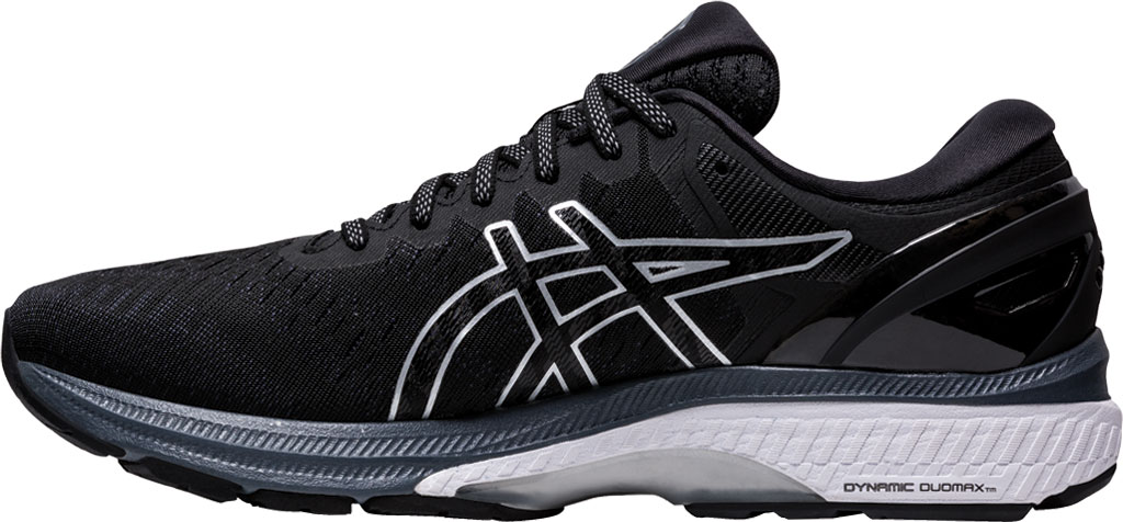 Men's ASICS GEL-Kayano 27 Running Sneaker, Black/Pure Silver, large, image 3