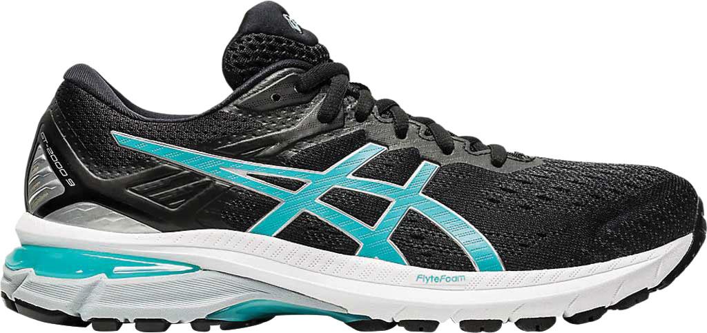 Women's ASICS GT-2000 9 Running Sneaker, Black/Techno Cyan, large, image 2