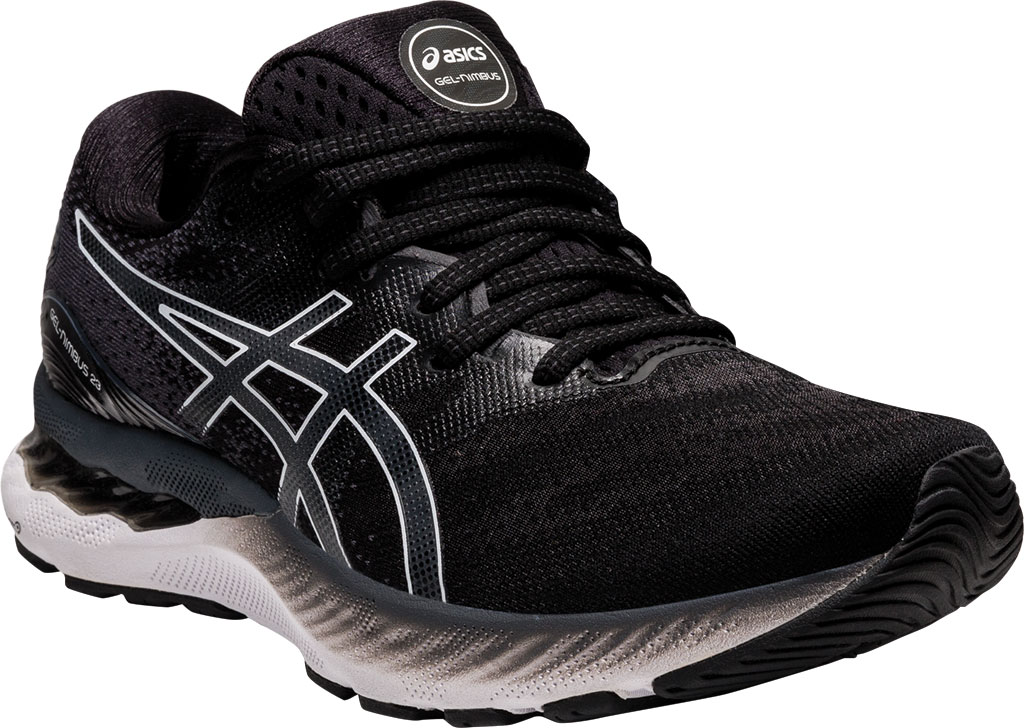 Women's ASICS GEL-Nimbus 23 Running Sneaker, Black/White, large, image 1
