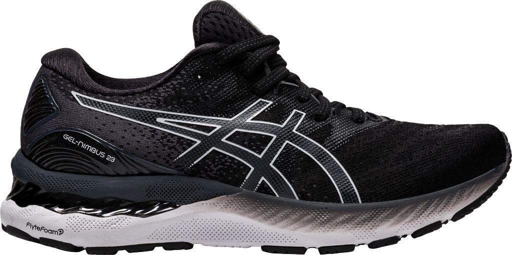 Women's ASICS GEL-Nimbus 23 Running Sneaker, Black/White, large, image 2
