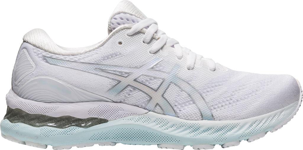 Women's ASICS GEL-Nimbus 23 Running Sneaker, White/Pure Silver, large, image 2