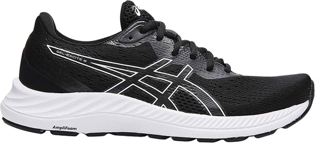 Women's ASICS GEL-Excite 8 Running Sneaker, Black/White, large, image 1