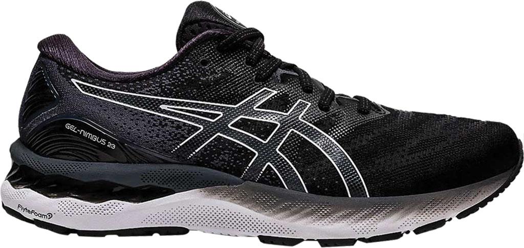 Men's ASICS GEL-Nimbus 23 Running Sneaker, Black/White, large, image 1