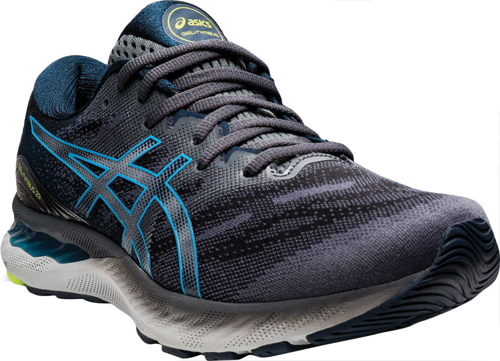Men's ASICS GEL-Nimbus 23 Running Sneaker, Carrier Grey/Digital Aqua, large, image 1