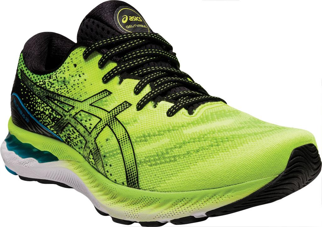 Men's ASICS GEL-Nimbus 23 Running Sneaker, Hazard Green/Black, large, image 1