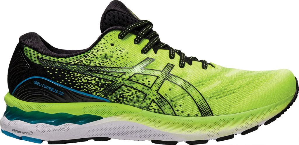 Men's ASICS GEL-Nimbus 23 Running Sneaker, Hazard Green/Black, large, image 2
