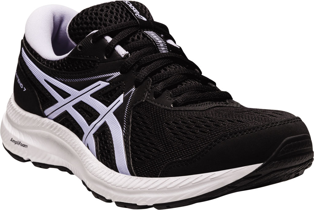 Women's ASICS GEL-Contend 7 Running Sneaker, Black/Lilac Opal, large, image 1