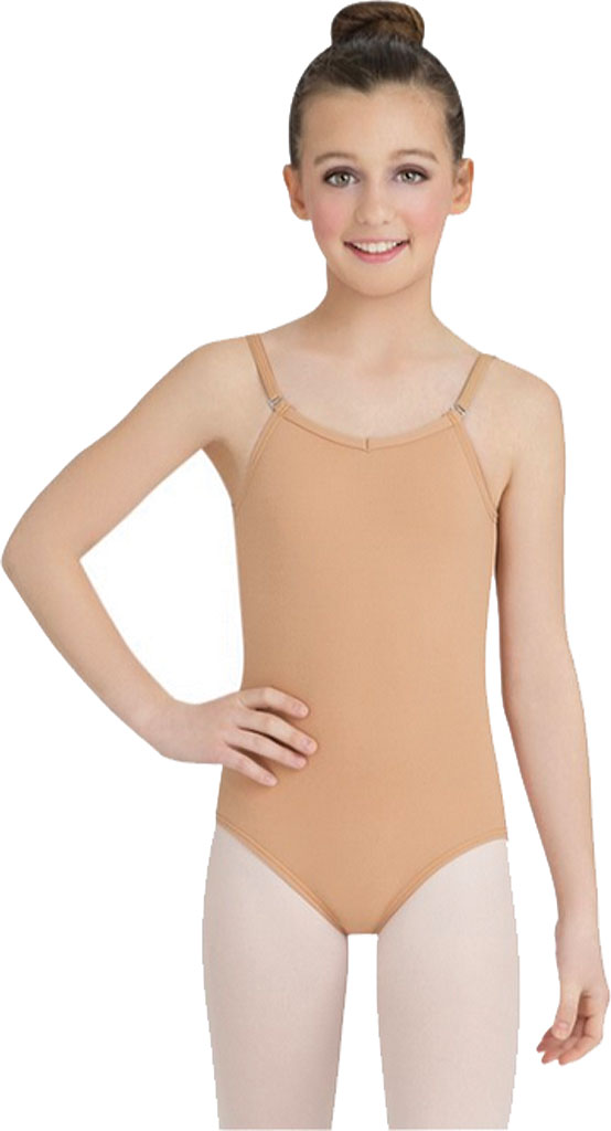 Girls' Capezio Dance Camisole Leotard with Adjustable Straps, Light Suntan, large, image 1