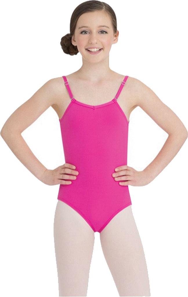 Girls' Capezio Dance Camisole Leotard with Adjustable Straps, Hot Pink, large, image 1